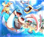 absurdres alolan_form alolan_raichu ball beach beach_towel beach_umbrella beachball blue_eyes clouds commentary_request day gen_1_pokemon gen_2_pokemon gen_3_pokemon gen_4_pokemon gen_7_pokemon gen_8_pokemon grapploct happy highres holding innertube krabby lapras mantyke milotic no_humans octillery open_mouth palm_tree pelipper pikachu pokemon pokemon_(creature) poket_mkrn psyduck quagsire sand sandygast shore sky sobble spheal sun sunglasses tongue towel tree umbrella water water_drop wimpod wingull