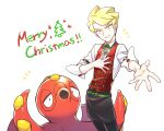 1boy apron black_pants blonde_hair christmas commentary_request gen_2_pokemon head_tilt highres lobolobo2010 looking_at_viewer male_focus merry_christmas octillery outstretched_hand pants pokemon pokemon_(creature) pokemon_(game) pokemon_masters_ex short_hair siebold_(pokemon) sleeves_rolled_up spread_fingers waist_apron white_background