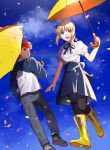 1boy 1girl ahoge artoria_pendragon_(all) blonde_hair boots confetti creat denim dress emiya_shirou fate/stay_night fate_(series) full_body green_eyes highres jeans looking_at_another pants raglan_sleeves redhead saber sky smile umbrella walking_on_air yellow_eyes yellow_umbrella