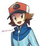 1boy :d artist_name baseball_cap blue_jacket brown_eyes brown_hair commentary_request hat hilbert_(pokemon) jacket lobolobo2010 looking_to_the_side male_focus open_mouth pokemon pokemon_(game) pokemon_bw smile solo tongue watermark zipper_pull_tab