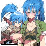 1girl blue_eyes blue_hair breasts brown_gloves camouflage_shirt chibi fighting_stance gloves green_jacket green_shorts jacket kafun leona_heidern midriff multiple_views navel open_clothes open_jacket ponytail shorts sleeves_rolled_up snk steam sweat sweatdrop the_king_of_fighters