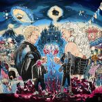 1boy 1girl aircraft black_footwear black_jacket black_neckwear black_pants blonde_hair broken_glass building closed_eyes copyright_request corset cup dirigible dorohedoro drinking_glass earrings fist_pump formal glass glasses jacket jewelry kaitennsiki mask mountain necktie noi_(dorohedoro) pants profile shin_(dorohedoro) shoes smile suit suit_jacket trash_bag white_footwear white_hair wine_glass