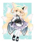 1919_decoy 1girl :d animal_ears arknights black_gloves blonde_hair blue_background blush cape chibi commentary fox_ears fox_tail full_body gloves green_eyes hair_rings hairband highres id_card looking_at_viewer multiple_tails open_mouth pantyhose short_hair smile solo standing suzuran_(arknights) tail torn_clothes torn_legwear two-tone_background white_background white_legwear
