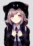 1girl backpack bag bangs black_jacket blush brown_hair clenched_hands collared_shirt commentary_request danganronpa eyebrows_visible_through_hair flipped_hair grey_background grey_shirt hair_ornament hands_up hood jacket looking_at_viewer momongapoketto nanami_chiaki neck_ribbon pentagram pink_eyes pink_hair pink_ribbon ribbon shirt short_hair sketch smile solo space_print star_(symbol) star_in_eye starry_sky_print super_danganronpa_2 symbol_in_eye upper_body