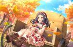 autumn black_hair dress idolmaster_cinderella_girls_starlight_stage long_hair oonuma_kurumi red_eyes smile