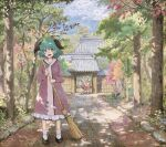 2girls animal_ears architecture bamboo_broom blonde_hair bobby_socks broom clouds commentary dappled_sunlight dress east_asian_architecture full_body green_eyes green_hair holding holding_broom kasodani_kyouko looking_at_viewer marker_(medium) mouse_ears multiple_girls myouren_temple nazrin open_mouth plant scenery shiratama_(hockey) short_hair socks standing sunlight toramaru_shou touhou traditional_media tree