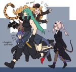 >_< animal_ears arknights bangs bare_shoulders black_headwear black_shirt blonde_hair blue_hair carrying_over_shoulder carrying_under_arm ch'en_(arknights) dl dragon_horns dragon_tail drill_hair gloves green_hair hair_between_eyes horns hoshiguma_(arknights) jacket long_hair mouse_ears mouse_tail multiple_girls oni_horns open_mouth scar scavenger_(arknights) shirt shorts silver_hair single_horn sleeveless swire_(arknights) tail tiger_ears tiger_tail