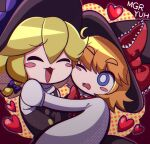 2girls bangs black_dress black_headwear blonde_hair blush blush_stickers bow braid brown_hair buttons carrying character_name closed_eyes commentary_request cookie_(touhou) dithering dress eyebrows_visible_through_hair eyes_visible_through_hair frilled_bow frills hair_between_eyes hair_bow happy hat hat_bow heart highres kirisame_marisa kusaremix looking_at_another meguru_(cookie) multiple_girls one_eye_closed open_mouth polka_dot polka_dot_background princess_carry puffy_sleeves purple_bow red_bow red_neckwear shiny shiny_hair short_hair side_braid single_braid touhou turtleneck upper_body very_long_sleeves wavy_mouth witch_hat yuri yuuhi_(cookie)