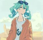 1girl ahoge bangs blue_eyes blue_hair blush closed_mouth clouds day desert earrings eyewear_on_head hair_between_eyes hatsune_miku jacket jewelry long_hair outdoors red_jacket sky solo spaghetti_strap suna_no_wakusei_(vocaloid) sunglasses teshima_nari twintails upper_body vocaloid