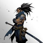 1boy armor black_hair cowboy_shot crossed_arms gauntlets gradient gradient_background japanese_clothes katana league_of_legends official_art promotional_art ruined_king:_a_league_of_legends_story sheath sheathed shoulder_armor sword tied_hair weapon yasuo_(league_of_legends)