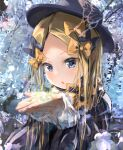 1girl abigail_williams_(fate/grand_order) bangs black_bow black_dress black_headwear blonde_hair blue_eyes blush bow breasts bug butterfly cupping_hands dress fate/grand_order fate_(series) flower forehead hair_bow hat insect long_hair looking_at_viewer multiple_bows open_mouth orange_bow parted_bangs ribbed_dress sakazakinchan sidelocks small_breasts