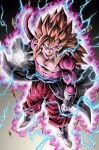 aura closed_mouth dragon_ball dragon_ball_heroes earrings floating_rock gloves highres jewelry long_hair looking_at_viewer looking_up male_focus monkey_boy monkey_tail muscle pants pink_fur red_pants redhead spiky_hair super_saiyan super_saiyan_4 tail vegetto vegetto_(xeno) white_footwear white_gloves youngjijii