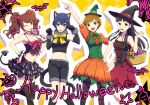4girls amagi_yukiko animal_ears basket black_eyes black_hair blue_eyes blue_hair blush bow brown_eyes brown_hair cat_ears cat_tail costume demon_horns demon_tail eyebrows_visible_through_hair fujishiro_kei happy_halloween hat holding holding_basket horns kujikawa_rise multiple_girls one_eye_closed open_mouth persona persona_4 redhead satonaka_chie shiny shiny_hair shirogane_naoto short_hair tail witch_hat