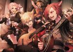 2boys 2girls absurdres animal_ears armpits bangs belt black_gloves blonde_hair blue_eyes boots bracelet brown_hair cat_ears cat_tail facial_mark final_fantasy final_fantasy_xiv fingerless_gloves g'raha_tia glasses gloves guitar harp heterochromia highres huge_filesize hyur instrument jewelry long_hair looking_at_another mihira_(tainosugatayaki) miqo'te mole mole_under_mouth multiple_boys multiple_girls neck_tattoo open_mouth pink_hair red_eyes redhead semi-rimless_eyewear short_hair shorts sleeveless slit_pupils smile tail tattoo thigh-highs thigh_boots under-rim_eyewear violet_eyes wrist_guards