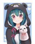 1girl absurdres animal_costume bear_costume blue_background blush closed_mouth commentary english_commentary eyebrows_visible_through_hair green_hair hair_ribbon hand_puppet highres keicyanyan kuma_kuma_kuma_bear long_hair looking_at_viewer looking_back outside_border pink_eyes pink_ribbon puppet ribbon smile solo yuna_(kuma_kuma_kuma_bear)