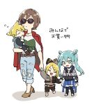 1boy 3girls aqua_eyes bangs belt black_bow black_hoodie black_shirt blonde_hair blue_vest bow brown_hair bubble carrying child closed_eyes commentary denim earrings expressionless grey_bow grey_shirt hair_ornament hairclip hatsune_miku hazuki_015 highres holding_another holding_hands hood hoodie jacket jacket_on_shoulders jeans jewelry kagamine_len kagamine_rin long_hair meiko multiple_girls pants project_sekai red_jacket shirt short_hair short_ponytail shorts sleeping smile spiky_hair sunglasses swept_bangs torn_clothes torn_jeans torn_pants translated twintails two-tone_bow two-tone_shirt vest vocaloid white_background white_shirt younger