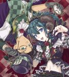 1boy 1girl bangs belt black_headwear black_shorts black_vest blue_eyes blue_hair braid breasts brown_belt brown_hair byleth_(fire_emblem) byleth_(fire_emblem)_(female) cape checkered checkered_background checkered_vest claude_von_riegan commentary_request costume_request cravat crop_top curled_horns dark_skin dark_skinned_male earrings eyebrows_visible_through_hair fangs fingernails fire_emblem fire_emblem:_three_houses flower gloves green_eyes green_neckwear green_vest grey_gloves hair_between_eyes hair_ornament halloween halloween_costume hat highres holding holding_clothes holding_hat holding_pocket_watch horns ichii_k jewelry long_fingernails long_hair looking_at_viewer lower_teeth medium_breasts midriff mismatched_sleeves monocle navel neck_ribbon open_mouth pocket_watch puffy_short_sleeves puffy_sleeves purple_cape red_cape red_flower red_nails red_rose ribbon rose shirt short_hair short_sleeves shorts sidelocks thorns top_hat twitter_username underbust upper_body upper_teeth vest watch white_shirt