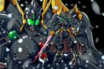 absurdres alternate_color angelg breasts energy_sword highres holding holding_sword holding_weapon large_breasts looking_at_viewer mecha mechanical_skirt mechanical_wings meganeon multiple_views no_humans shield standing super_robot_wars super_robot_wars_original_generation sword visor weapon wings