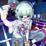 1girl ace_akira baggy_clothes bangs black_eyes blue_legwear blunt_bangs building cat_ear_headphones chocolate eva_01 eyeshadow food glasses grey_pants hair_ornament hairclip headphones heart ikari_shinji jewelry light_green_hair makeup mole neon_genesis_evangelion night original pants purple_nails railing ring road shamshel shirt shoes short_hair sneakers sticker traffic_cone vending_machine wafer white_footwear white_shirt