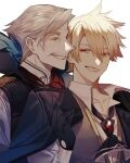 2boys absurdres albino_(a1b1n0623) arm_up bangs blonde_hair collarbone collared_shirt eyebrows_visible_through_hair facial_hair fate/grand_order fate/prototype fate/prototype:_fragments_of_blue_and_silver fate_(series) formal gloves gradient_hair grey_hair greyscale hair_between_eyes high_collar highres jacket jacket_on_shoulders james_moriarty_(fate/grand_order) jekyll_and_hyde_(fate) long_sleeves looking_at_another loose_necktie male_focus monochrome multicolored_hair multiple_boys mustache necktie no_eyewear open_clothes pointy_nose red_eyes shirt short_hair smile smirk suit untied vest white_background white_shirt