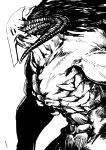 1boy absurdres collarbone completely_nude greyscale hatching_(texture) highres horns long_hair male_focus mask monochrome monster muscle navel nude original ribs shirtless simple_background sister_plz solo veins white_background