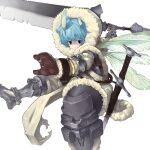 1boy armor black_eyes blue_hair blush breastplate brown_gloves chainmail closed_mouth crack fairy_wings gloves greaves hair_between_eyes highres holding holding_sword holding_weapon hood hood_up huge_weapon light_blue_hair male_focus multiple_wings original scabbard scratches sheath sheathed short_eyebrows simple_background sister_plz solo sword torn torn_clothes vambraces weapon white_background wings winter_clothes