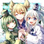 3girls :3 :d :o ;) blonde_hair blue_eyes blurry blurry_background blush border breasts closed_mouth collarbone commentary_request dress eyebrows_visible_through_hair fangs fingernails flat_chest frills ghost_tail green_dress green_eyes green_hair hair_between_eyes hat highres interlocked_fingers itsumizu juliet_sleeves long_hair long_sleeves looking_at_viewer medium_breasts medium_hair mononobe_no_futo multiple_girls one_eye_closed open_mouth outside_border petals pom_pom_(clothes) ponytail puffy_sleeves sidelocks silver_hair small_breasts smile soga_no_tojiko tate_eboshi touhou toyosatomimi_no_miko upper_body wide_sleeves yellow_eyes