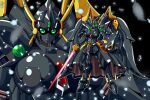 absurdres alternate_color angelg breasts energy_sword green_eyes highres holding holding_sword holding_weapon large_breasts looking_at_viewer mecha mechanical_skirt mechanical_wings meganeon multiple_views no_humans parted_lips shield standing super_robot_wars super_robot_wars_original_generation sword weapon wings