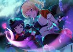 2girls ayase_eli bat_wings bikini bikini_top black_skirt blonde_hair breasts candy dancing_stars_on_me! dutch_angle food gloves hair_ornament hairclip halloween hat high_ponytail highres kate_iwana lollipop looking_at_viewer love_live! love_live!_school_idol_project midriff mini_hat multiple_girls scrunchie shrug_(clothing) sideboob skirt sky star_(sky) starry_sky swimsuit toujou_nozomi upper_body wand wings