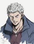 1boy blue_eyes collarbone devil_may_cry devil_may_cry_5 face grey_background grey_hair jewelry kinaco_mch light_blue_eyes male_focus necklace nero_(devil_may_cry) parted_lips simple_background sketch smile solo upper_body