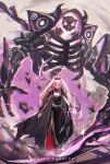1girl aoratosmeka bangs black_dress capelet detached_sleeves dress gem highres holding hololive hololive_english looking_at_viewer mori_calliope personification pink_eyes pink_hair ribs robot scythe shoulder_spikes signature simple_background spikes standing thigh-highs tiara veil virtual_youtuber