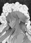 1girl bare_shoulders blush greyscale hatching highres kerumu_(hagire_elephant) long_hair monochrome parted_lips ribbon saya_(saya_no_uta) saya_no_uta solo upper_body