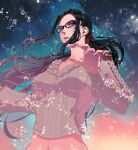 1girl alternate_costume alternate_hairstyle aurora bayonetta bayonetta_(character) black_hair blue_eyes breasts casual collarbone earrings glasses highres jewelry kara_ikuko knit_sweater long_hair looking_at_viewer medium_breasts navel ponytail scrunchie sidelocks solo sparkle upper_body