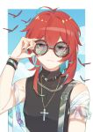 1boy absurdres black_shirt chen_clear chinese_commentary contemporary cross cross_necklace diluc_(genshin_impact) genshin_impact highres holding holding_eyewear jewelry looking_at_viewer necklace red_eyes redhead round_eyewear shirt sleeveless sleeveless_shirt solo summer sunglasses