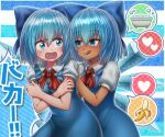 2girls annyui_(cookie) banana bangs bathtub blue_bow blue_dress blue_eyes blue_hair blush bow bubble cirno closed_mouth commentary_request cookie_(touhou) cowboy_shot crossed_arms dress dress_shirt empty_eyes eyebrows_visible_through_hair eyes_visible_through_hair food fruit hair_between_eyes hair_bow hands_on_another's_back heart highres ice ice_wings kurikinton_(cookie) kusaremix licking_lips looking_at_another looking_back multiple_girls nose_blush open_mouth pinafore_dress puffy_short_sleeves puffy_sleeves red_neckwear red_ribbon ribbon shiny shiny_hair shirt short_hair short_sleeves simple_background speech_bubble spoken_heart standing striped striped_background tanned_cirno tongue tongue_out touhou translation_request white_shirt wing_collar wings