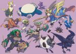 all_fours black_sclera boltund closed_eyes commentary_request corviknight cramorant dubwool fire gen_1_pokemon gen_5_pokemon gen_6_pokemon gen_8_pokemon heatmor highres holding komame_(st_beans) legendary_pokemon looking_back lying mouth_hold no_humans on_back open_mouth paws pincurchin pokemon pokemon_(creature) purple_background red_eyes rillaboom silicobra simple_background single_eye sitting sleeping snorlax tongue tongue_out toxel trevenant zacian zacian_(crowned)