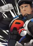 1boy black_eyes black_headwear cliff_(pokemon) closed_mouth commentary covered_abs gloves grey_gloves hat highres looking_at_viewer male_focus muscle poke_ball poke_ball_(basic) pokemon pokemon_(game) pokemon_go short_hair skin_tight smile solo team_go_rocket team_rocket team_rocket_uniform zifuuuun