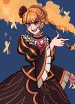 1girl beatrice_(umineko) black_choker blue_background blue_eyes blush bow braid breadytime bright_pupils choker collarbone dress english_commentary evil_grin evil_smile eyebrows_visible_through_hair fang flower french_braid frilled_choker frilled_dress frilled_sleeves frills furrowed_eyebrows grin hair_flower hair_ornament highres holding holding_pipe juliet_sleeves kiseru long_sleeves orange_hair pink_bow pink_nails pipe puffy_sleeves red_flower red_rose rose sidelocks smile smoke solo sparkle umineko_no_naku_koro_ni white_pupils wide_sleeves yellow_butterfly