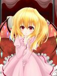 bed blanket blonde_hair crystal_hair finger_to_mouth flandre_scarlet four-poster_bed futon highres looking_at_viewer nightgown on_bed pajamas pillow pink_nightgown shushing side_ponytail syo03 touhou