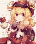 1girl ahoge backpack bag bag_charm blonde_hair brown_gloves cabbie_hat charm_(object) clover commentary dress eyebrows_visible_through_hair genshin_impact gloves hand_to_own_mouth hat hat_feather klee_(genshin_impact) low_twintails mina_(sio0616) no_nose open_mouth pointy_ears randoseru red_dress red_headwear short_twintails sidelocks simple_background solo tan_background twintails upper_body white_feathers white_sleeves yawning