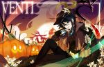 1boy bat black_hair blue_eyes blue_hair blurry blurry_background blush braid cape cup drinking_glass feathers fence flower fur genshin_impact glass gradient_hair halloween halloween_costume hat hat_flower leaf long_sleeves looking_at_viewer lyre male_focus michariell3 multicolored_hair night night_sky open_mouth otoko_no_ko paimon_(genshin_impact) pumpkin sky slime smile star_(sky) starry_sky twin_braids venti_(genshin_impact) vision_(genshin_impact) white_flower wine_glass