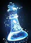 1girl broken_glass chess_piece commentary_request dress glass highres king_(chess) long_hair minigirl original petals signature skyrick9413 solo