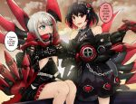 2girls admiral_graf_spee_(azur_lane) azule-iro azur_lane belt black_dress black_hair clothing_cutout clouds cloudy_sky color_connection commentary dress english_commentary eyebrows_visible_through_hair highlights honkai_(series) honkai_impact_3rd iron_cross light_blue_eyes mechanical_hands multicolored_hair multiple_girls red_eyes red_scarf redhead scarf seele_(alter_ego) seele_vollerei short_hair sky streaked_hair sunset trait_connection two-tone_hair underboob_cutout white_belt white_hair