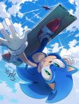 1boy aircraft animal_nose blue_sky clouds falling furry gloves green_eyes grin helicopter highres looking_at_viewer male_focus msg01 red_footwear shoes sky smile sneakers solo sonic sonic_adventure_2 sonic_the_hedgehog upside-down white_gloves