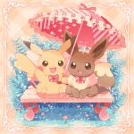 bench blush bow bowtie brown_eyes brown_fur commentary_request eevee flower gen_1_pokemon grass highres holding holding_umbrella jippe no_humans open_mouth paws pikachu pink_neckwear pokemon pokemon_(creature) sitting smile tongue umbrella