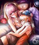 2girls blush breasts death-sensei_(mori_calliope) death_(entity) fukurosan grim_reaper hololive hololive_english long_hair mori_calliope multiple_girls short_hair takanashi_kiara tsundere virtual_youtuber yuri