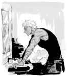 1boy archer bandages commentary_request dripping fate/stay_night fate_(series) greyscale knife leaning_forward looking_at_mirror male_focus mirror monochrome muscle scar shibanui short_hair sink solo water_drop wet wet_face