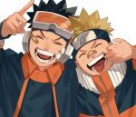 2boys ^_^ bandaid bandaid_on_face bandaid_on_nose black_hair blonde_hair blue_headband closed_eyes commentary_request facial_mark facing_viewer forehead_protector goggles goggles_on_head hand_up headband highres konohagakure_symbol long_sleeves male_focus mirin_(coene65) mouth_pull multicolored multicolored_clothes multiple_boys naruto naruto_(series) naruto_shippuuden orange_jumpsuit pointing short_hair simple_background smile spiky_hair teeth tongue uchiha_obito upper_body uzumaki_naruto v-shaped_eyebrows whisker_markings white_background zipper