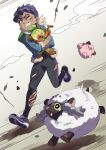 1boy black_pants blood character_doll clefairy clenched_teeth commentary_request cuts dark_skin dark_skinned_male eyelashes fur-trimmed_jacket fur_trim gen_1_pokemon gen_8_pokemon green_bag grookey highres holding holding_pokemon hop_(pokemon) injury jacket komame_(st_beans) leaves_in_wind looking_to_the_side one_eye_closed pants pokemon pokemon_(creature) pokemon_(game) pokemon_swsh running shoes short_hair sleeves_past_elbows teeth wooloo yellow_eyes