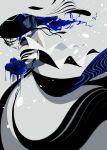 1girl absurdres bangs bare_shoulders berryverrine blending blue_flower blue_hair blue_rose dress earrings floating_hair flower grey_background grey_dress hat highres holding holding_flower jewelry long_hair original profile red_eyes rose shadow solo spot_color wind